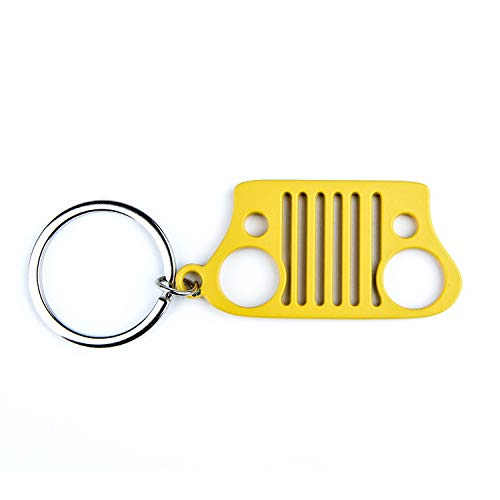 EVAPLUS Car Key Chain Keychain Key Ring for Jeep Wrangler Accessories Enthusiasts-Jeep Front Grill Design and Stainless Steel Material with 4 Colors (Yellow)