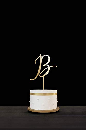 Customized Monogram Initials Wedding Cake Topper, Mirror Gold