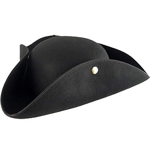Rimi Hanger Mens Womens Black Sea Pirate Hat Adults Fancy Dress Party Headwear Accessories One Size Fits Most