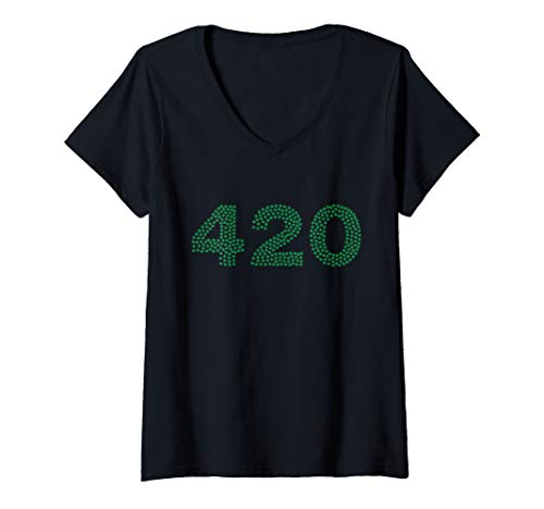 Womens 420 Written with Pot Leaves Top for Mary Jane Lovers V-Neck T-Shirt - Pot Leaf Jane Mary