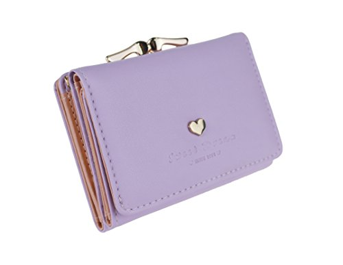 The Orient Bee Women's Mini Leather Wallet Kiss Lock Closure (One Size, lavender) ()