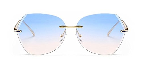 rond en retro métallique inspirées Bleue du cercle lunettes vintage Poudre style polarisées de soleil Lennon qx7gS
