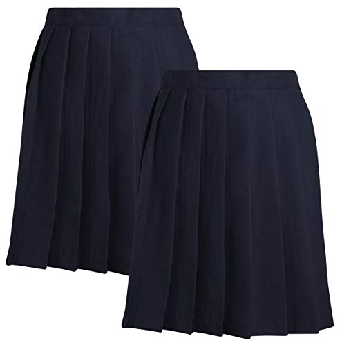 - French Toast Junior Girls' School Uniform Pleated Skirt (2 Pack) (Navy, 9)'