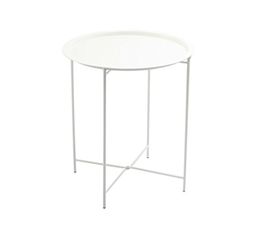 Finnhomy Small Round Side End Table, Sofa Table, Tray Side Table, Snack Table, Metal, Anti-Rusty, Outdoor and Indoor Use for Putting Small Things, Multi-use For Sale