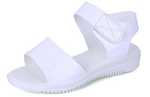 Summer Student bequeme flache Sandalen einfache Steigung mit rutschfesten Schuhen Fischkopf Schuhen white