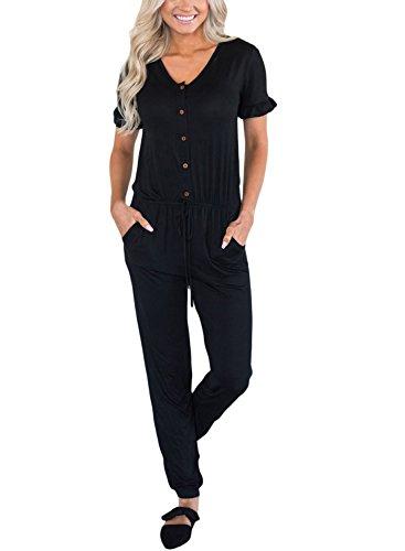 Button Front Jumpsuit - Dearlove Women Short Sleeve Button Wide Leg One Piece Jumpsuit Casual Loose Club Party Long Pant Rompers with Pocket Soild Black Small