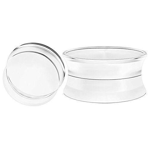 BIG GAUGES Pair Clear Acrylic 3/4 inch Gauge 20mm Double Flare Solid Saddle Piercing Jewelry Earring Plugs Stretcher BG1420 ()