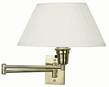 Wall Mounted Swing Arm Lamp (Brass) (13'' diameter shade 19'' extension)