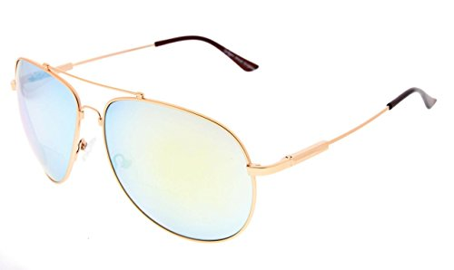 - Eyekepper Large Bifocal Sunglasses Polit Style Sunshine Readers with Bendable Memory Bridge and Arm (Gold Mirror, 2.00)