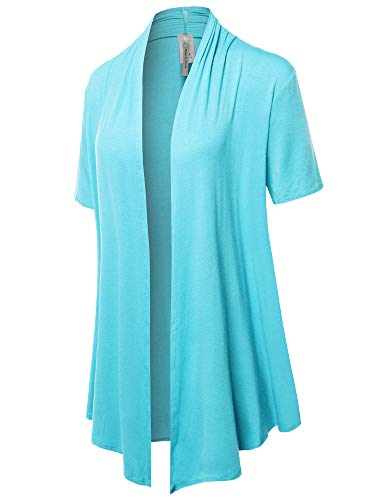 (Solid Jersey Knit Draped Open Front Short Sleeves Cardigan Lightblue L)