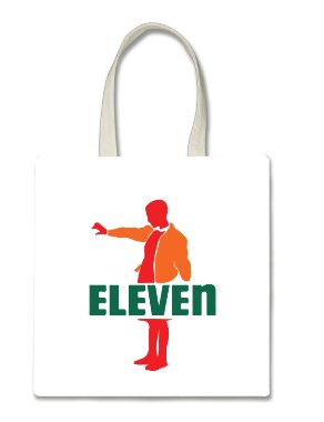 Funny Fan Made Seven Eleven Parody Art Halloween Trick Or Treat Polyester White Tote Bag 15x16x 3.5 -