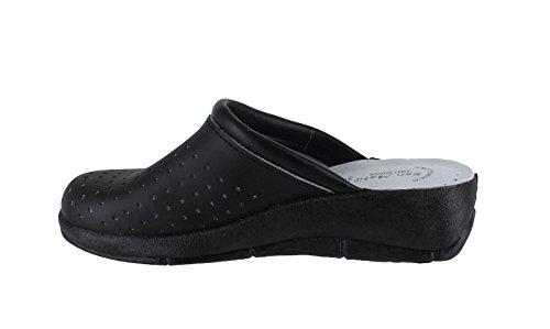 San Tacones cuero Garden Kitchen de mujer Mules Zapatos Negro para Zuecos Malo qgx8IT5w