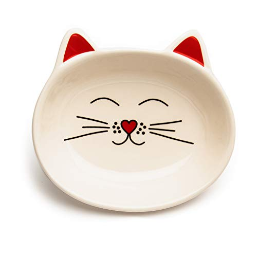 (Park Life Designs Oscar Cat Dish, 1/2-cup Heavyweight Ceramic Saucer Stays Put, Chew-Proof, Microwave and Dishwasher Safe, Cream)