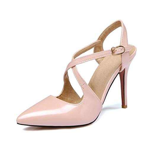 ANDERDM Woman Cross Strap High Heels Party Shoes Buckle Big Size Pu Pointed Toe Sandals]()