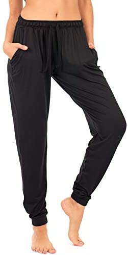 DEAR SPARKLE Jogger with Pockets for Women Drawstring Lightweight Sweats Yoga Lounge Pants + Plus Size (P7)