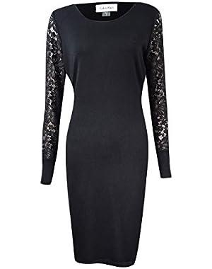 Lace-Sleeve Women Large Petite Sweater Dress