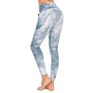 "Lianshp Yoga Pants with Pockets for Women Tie Dye Leggings High Waist Tummy Control Athletic Workout Running Leggings 25"" White M"