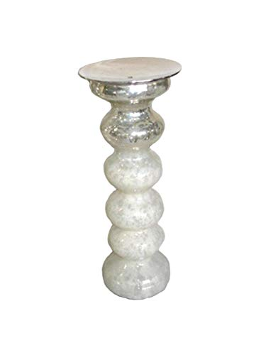 Castiçal De Vidro Branco E Prata Sarquis Samara Branco/prata