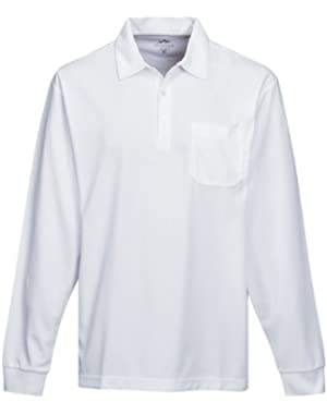 Men's Long Sleeve 3-Button Waffle-Knit Endurance Pocket Polo (6 Colors, S-4XLT)