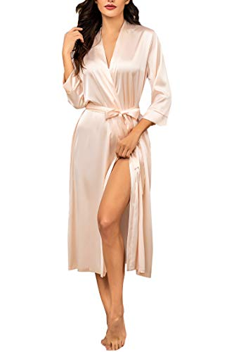 Hotouch Silk Robes for Women Satin Long Kimono Robes Bridesmaid Wedding Party Dressing Gown S-XXL