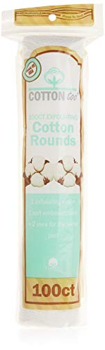 Cotton Too 100 Count Cotton Cosmetic Rounds, Exfoliating, 6 Pack