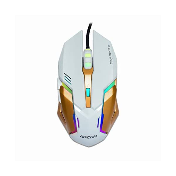 Adcom Maverick Super Gaming Mouse - RGB LED 6D USB Wired Optical Mouse with 6 Programmable Buttons, Steel Finish, and 3 Section DPI Switch (White/Gold)