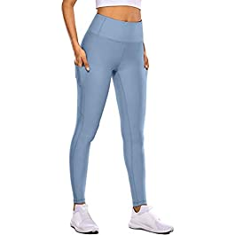 DressLksnf Women's Leggings Laides Yoga Pants with Pockets High Waisted Tummy Control Stretch Workout Fitness Running Tights Leggings Trousers Starter Sets Blue