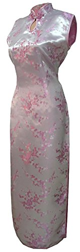 7Fairy Women's Sexy Pink Keyhole Floral Long Chinese Dress Cheongsam Size 2 US (Dresses Chinese Chinese Dress)