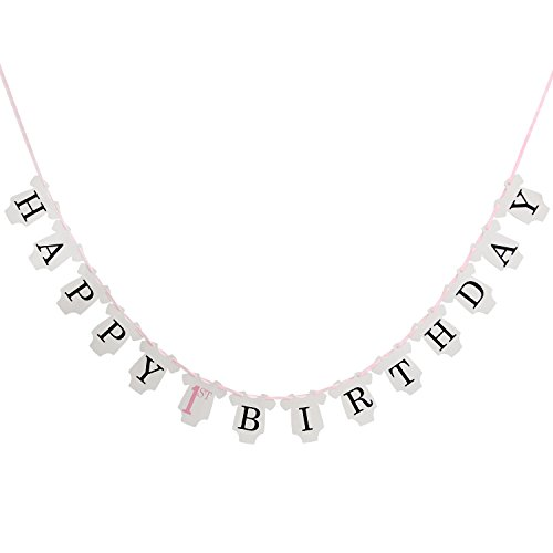 LOVELY BITON(TM) Children White Happy 1st Birthday Bunting Banner for Party Decoration, Shape like a Clothes of (Monster High Girl Names)