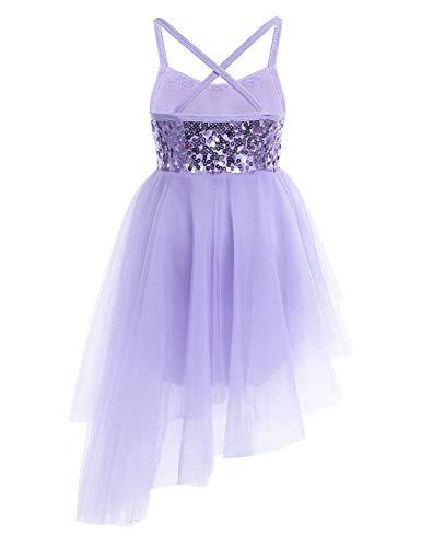 iiniim Kids Girls' Sequined Camisole Ballet Tutu Dress Ballerina Leotard Outfit Dance Wear Costumes (Hi-Lo Purple, 10-12)