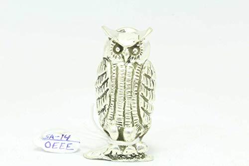 Rajasthan Gems Handmade 925 Sterling Silver OWL Bird Figure 41.0 Grams Decorative Gift Item