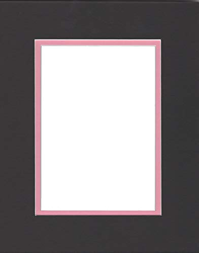 Pack of 5 11x14 Black & Bubble Gum Pink Double Picture Mats Cut for 8x10 Pictures -