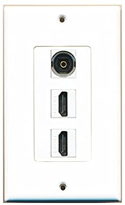 RiteAV - 1 Toslink Digital Audio Port and 2 HDMI Port Wall Plate Decorative