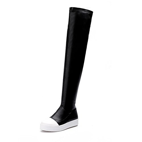 AmoonyFashion Womens Round and Closed Toe Low-Heels Boots With Two Toned Black
