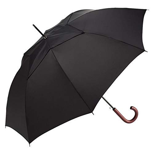 ShedRain WindPro Vented Auto Open Traditional Stick Wind Umbrella with Curved Wood Handle: Black