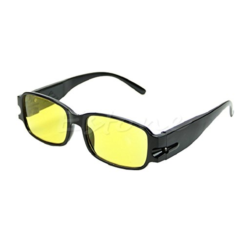 Yumian Multi Strength Reading Night Vision Glasses Presbyopia Diopter Eyeglass LED (2.00, Black Frame + Yellow - Uv Polarized Do Lenses Block