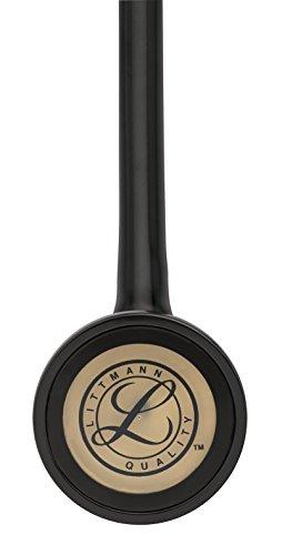 3M Littmann Master Cardiology Stethoscope, Brass-Finish Chestpiece, Black Tube, 27 inch, 2175