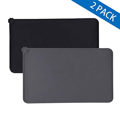 Awpeye Dog Food Mat for Floor Waterproof 2 Pack, Silicone Dog Food Tray, Pet Bowl Feeding Mats for Food and Watert (Small 19″x12″, Black & Gray)