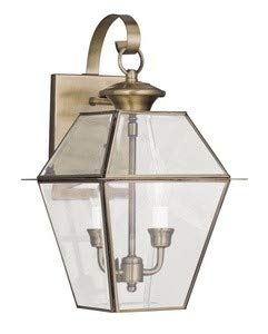 Chandelier Charleston Collection - Livex Lighting 2281-01 Westover 2-Light Outdoor Wall Lantern, Antique Brass