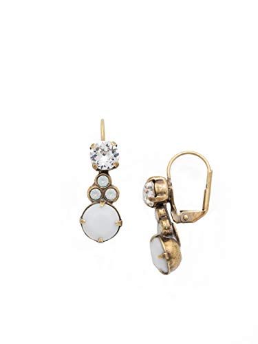 Sorrelli Clustered Circular Crystal Drop Earring, White, -