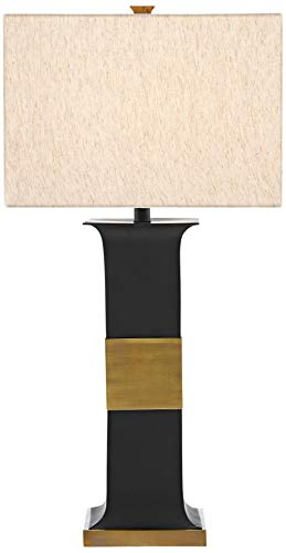 Currey and Company Petrole Black Metal Column Table Lamp ()