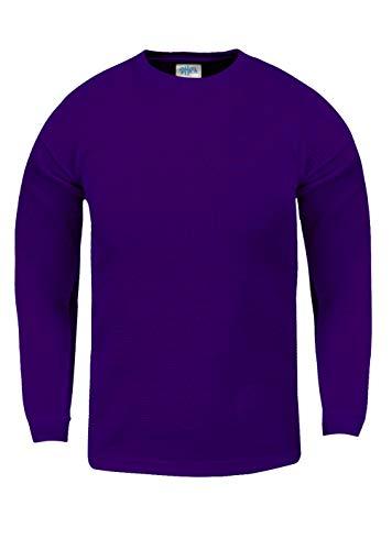 Shaka Wear KTC08_XL Thermal Long Sleeve Crewneck Waffle Shirt Purple XL