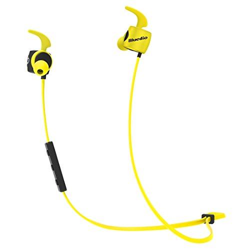 Bluedio TE (Turbine) Bluetooth 4.1 Wireless Sports Headphones, Sweatproof Running Earbuds with Mic (Yellow)