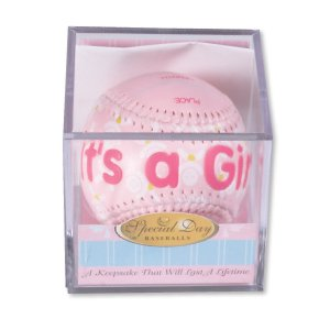 """""""IT'S A GIRL"""" Baseball -BIRTH ANNOUNCEMENT/Keepsake/GIFT/Pink - INCLUDES DISPLAY BOX/Shower/CHRISTENING/NEW BABY GIFT 3"""" Diameter"""