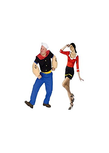 Popeye The Sailorman Popeye And Olive Oyl Couples Costumes (Medium/Large (10-14)) - Olive And Popeye Costume