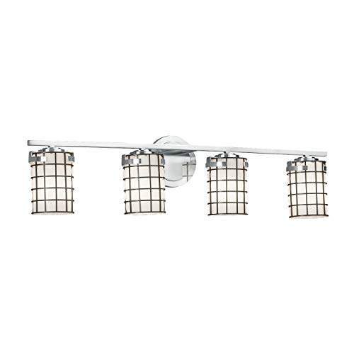 Wire Glass - Atlas 4-Light Bath Bar - Cylinder with Flat Rim Wire Cage and Blown Glass Shade in Grid with Opal - Polished Chrome Finish - LED