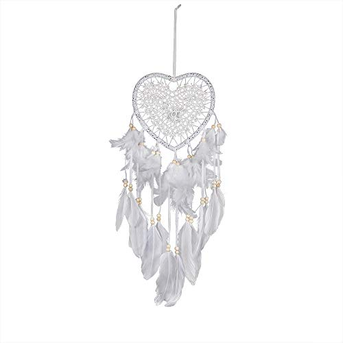 Amaping Dream Catchers Wind Feather Chimes Pendant Wooden Beads Tassel Wall Hanging Ornaments Kids Girl Bedroom Home Decor (White Heart Shape)