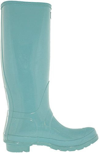 Hunter Damen Original Tall Regen Boot, Schwarz Glanz, 8 B (M) US Blasse Minze