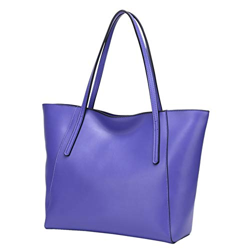 CHERRY CHICK Women's Shoulder Bag Genuine Leather Tote Bags Oversized Soft Hot (Matt Ultra Violet-9816)