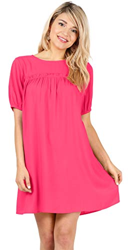 - Short Puff Sleeve Flowy Casual Solid and Print Summer Above The Knee Shift Dresses for Women (Size Small US 6-8, Fuschia)